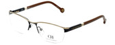 Carolina Herrera Designer Eyeglasses VHE041-0530 in Black Gold 54mm :: Rx Single Vision