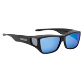 Jonathan Paul® Fitovers Eyewear Large Traveler in Satin Black & Blue Mirror TL001BM