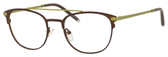 Ernest Hemingway H4832 Womens Round Eyeglasses in Brown/Lime Green 49 mm