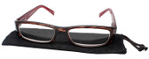 Calabria Elin Rectangular Designer Reading Glasses Wine/Tortoise 50mm