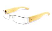 Calabria Designer Eyeglasses Bamboo 65 Silver & Blonde :: Custom Left & Right Lens