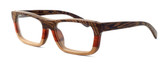 "Specs of Wood Designer Wooden Eyewear Made in the USA ""Serious III"" in Red Rosewood (Red) :: Custom Left & Right Lens"