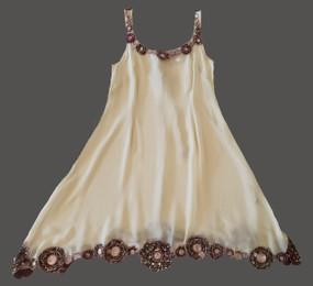 Trapezium silk chiffon with appliqué embellishments - Cream Klimt