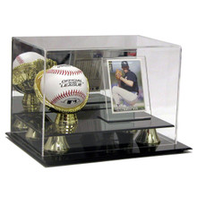 Deluxe Acrylic Gold Glove Baseball & Card Display Case  - OUT OF STOCK