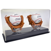 Acrylic Double Baseball Display Case w/Mini Glove  - OUT OF STOCK