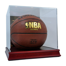 Deluxe Acrylic Wood Base Basketball Display Case - OUT OF STOCK