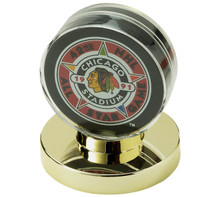 Gold Base Hockey Puck Holder - OUT OF STOCK