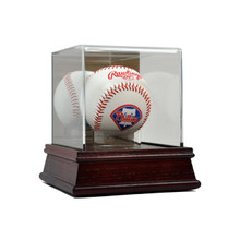 Deluxe Acrylic Wood Base Baseball Display Case w/Stand - OUT OF STOCK