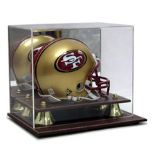 Executive Acrylic Leather Base Mini Helmet Display Case - OUT OF STOCK