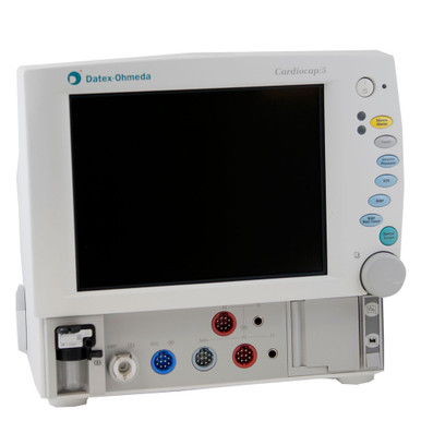 The refurbished GE Datex-Ohmeda Cardiocap 5 Anesthesia Monitor, for purchase or rental, provides complete vital sign monitoring capabilities for all anesthesia monitoring scenarios. This model includes integrated airway gases O2, N2O, and CO2.