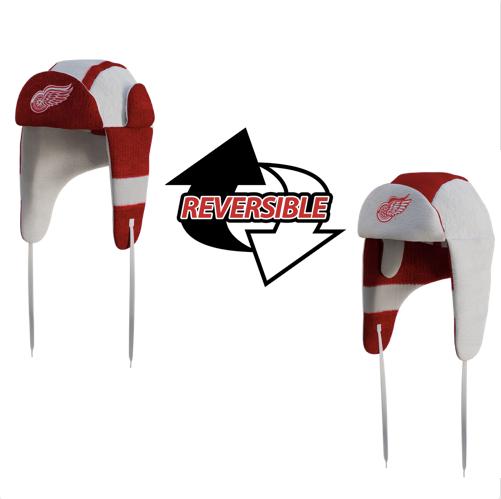 5eabb085957 Detroit Red Wings NHL Reversible Trapper. 2 Hats In 1. Loading zoom