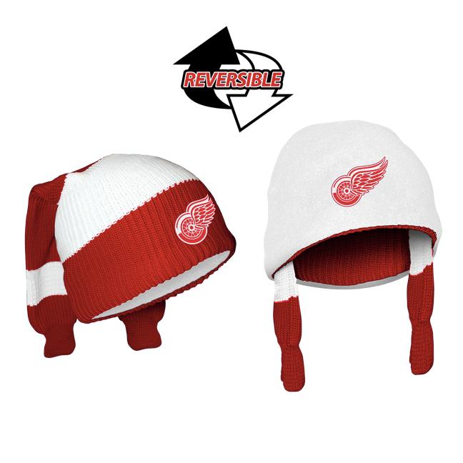 e4057b88edc Detroit Red Wings NHL Reversible Sockey. 2 Winter Hats in One! Loading zoom