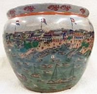 "Chinese Porcelain Fish Bowl Planter 24"" - Style 35"