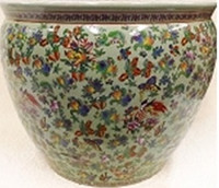 "Chinese Porcelain Fish Bowl Planter 20"" - Style 35 - Floral Pattern"