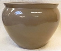 "Chinese Porcelain Fish Bowl Planter 20"" - Style 35 - Solid Beige"