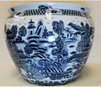 "Blue and White Classic Chinese Porcelain Fish Bowl Planter 20"" - Style 35"