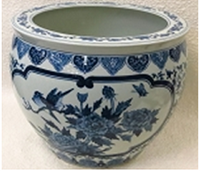 Blue and White Classical Chinese Porcelain Fish Bowl Planter 20""