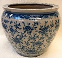 Blue and White Classic Chinese Porcelain Fish Bowl Planter 20""