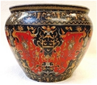 "Chinese Porcelain FishBowl Planter 20"" - Black and Red"