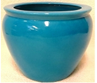 "Chinese Porcelain FishBowl Planter 20"" - Turquoise"