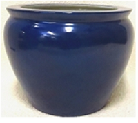 "Chinese Porcelain FishBowl Planter 20"" - Cobalt Blue"