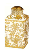 Luxe Life Golden Gardens Finely Finished Porcelain and Gilt Bronze Ormolu - 7 Inch Covered Jar