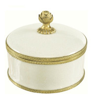 Luxe Life Glossy White Crackle Finely Finished Porcelain and Gilt Bronze Ormolu - 6 Inch Decorative Box
