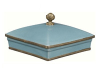 Luxe Life Glossy Sky Blue Crackle Finely Finished Porcelain and Gilt Bronze Ormolu - 7 Inch Square Decorative Box