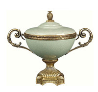 Luxe Life Glossy Sage Crackle Finely Finished Porcelain and Gilt Bronze Ormolu - 11 Inch Covered Urn