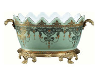 Luxe Life Celadon Flourish Finely Finished Porcelain and Gilt Bronze Ormolu - 16 Inch Centerpiece or Planter