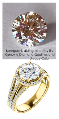 1.91 Benzgem by GuyDesign® Luxury 01.91 Carat H&A Signature Imitation Diamond with g+ VS Diamond Semi-Mount, Triple Split Shank, 14k Gold Ring, 10180
