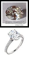 2.66 Benzgem by GuyDesign®, Luxury, Diamond Quality 2.66 Carat Oval Shape, Alternative Solitaire, Mined diamond Semi-Mount, Louis XIV Baroque Scroll, Bespoke 14 karat Engagement Ring, 10183