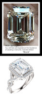 3.95 Carat Believable and Realistic Simulated Diamond Emerald Cut Benzgem matches Convincingly the Natural Diamond Semi-Mount; GuyDesign Halo Engagement or Right-Hand Ring - 14k White Gold, 10186,
