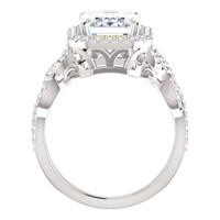 3.95 Benzgem by GuyDesign®, Luxury, Diamond Quality 3.95 Carat Emerald Cut, Alternative Solitaire, Mined 74 diamond Semi-Mount, Romance, Bespoke 14 karat Engagement Ring, 10186