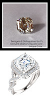 4.50 Carat Believable and Realistic Simulated Diamond Asscher Cut Benzgem matches Convincingly the Natural Diamond Semi-Mount; GuyDesign Halo Engagement or Right-Hand Ring - 14k White Gold, 10187,