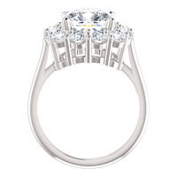 Benzgem by GuyDesign® 3.50 Carat Cushion Shape Fantasy Diamond, Diamond White Cream Tint G-H-I-J Color Most Believable Fake Diamond, with Mined F+ Color VS Clarity 1.80 Carat Hearts & Arrows Diamond Semi-Mount, Diana Style Ring, Platinum, 6716