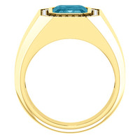 10 x 8 GuyDesign® Men's Ideal Ring for Gemstones, London Blue Emerald Shape Topaz, Hearts & Arrows F+ Color and VS Clarity Mined Diamonds, 14 Karat Yellow Gold Ring, 10197