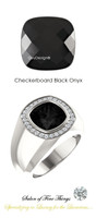10 x 10 GuyDesign® Men's Ideal Ring for Gemstones, Checkerboard Cushion Shape Black Onyx, Hearts & Arrows F+ Color and VS Clarity Mined Diamonds, Bespoke Sterling Silver Pinky Ring, 10201