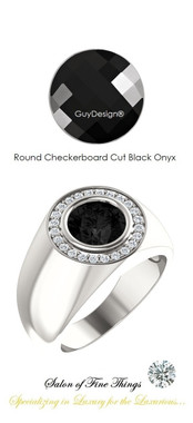 8 x 8 GuyDesign® Men's Ideal Ring for Gemstones, Checkerboard Round Shape Black Onyx, Hearts & Arrows F+ Color and VS Clarity Mined Diamonds, Bespoke Sterling Silver Pinky Ring, 10202