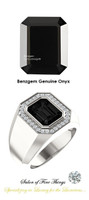 10 x 8 GuyDesign® Men's Ideal Ring for Gemstones, Emerald Cut Black Onyx, Hearts & Arrows F+ Color and VS Clarity Mined Diamonds, Bespoke Sterling Silver Pinky Ring, 10205