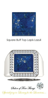10 x 10 GuyDesign® Men's Ideal Ring for Gemstones, Square Buff Top Lapis Lazuli, Hearts & Arrows F+ Color and VS Clarity Mined Diamonds, Bespoke Sterling Silver Pinky Ring, 10207