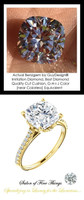 Benzgem by GuyDesign®, G-H-I-J, Color, 3.21 Carat Cushion Shape, Best Alternative Diamond with H & A Mined Diamond Semi-Mount, Louis XIV Baroque Scroll Solitaire Ring, 18 Karat Yellow Gold, 10209