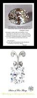 2.66 Carat Oval Shape Benzgem Imitation Diamond, Diamond Quality Color; G-H-I-J Near Colorless, GuyDesign® Louis XIV Baroque Scroll Necklace Pendant, Sterling Silver, 10216