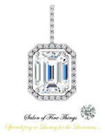 5.50 Ct. Brilliant Emerald Cut Benzgem: Best G-H-I-J Diamond Quality Color Imitation; GuyDesign Mined Diamond Pendant Necklace: DG854381.91020000.834581