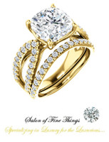 A GuyDesign®, Ladies Engagement, Right Hand, or Wedding Set DG1237487.91020000.8473217 Shown with a 3.21 Carat Cushion Shape Benzgem