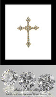 GuyDesign® Gold and Diamond Bespoke Cross Pendant, Necklace, .88 Carat, 32 F+ Color, VS Clarity Hearts & Arrows Mined Diamonds, 14 Karat White Gold 10219