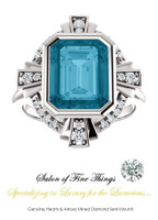 A GuyDesign®, Right Hand Ring DG690276.91020000.72096.6 Art Deco Style Ring. Pictured with London Blue Topaz.