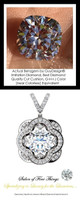 3.21 Ct. Hand Cut Antique Square Cushion Cut Benzgem: G-H-I-J Diamond Quality Color Imitation; GuyDesign® Opulent Platinum and Mined Diamond Pendant Necklace: DG121689.91020000.86121.9
