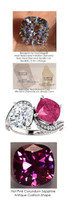 7 Carat and 11 points, Ladies Genuine Diamond Semi-Mount Two Stone Wedding Ring, Benzgem by GuyDesign® Lab Created Corundum Sapphire, and Best Cushion G-H-I-J Color Diamond Simulant .7045