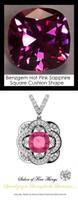 4 Carat Cushion Cut Hot Pink Corundum Sapphire, Lab-Grown GuyDesign® Synthetics, Opulent Platinum Pendant Necklace DG121689.91020000.86121.9